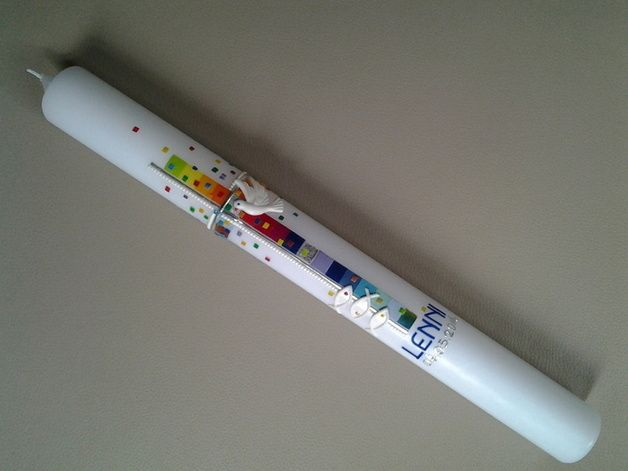 Kommunionkerzen - Kommunionkerze / Mosaik ¨Taube & Fische¨ Le... - ein Designerstück von arte-maria bei DaWanda