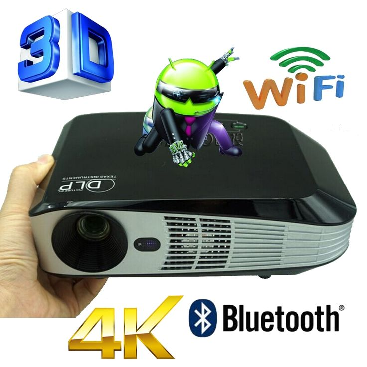 455.20$  Buy here - http://alipnx.worldwells.pw/go.php?t=32613052948 - Bluetooth 4.0 Android 4.4 Wifi 3000ANSI HDMI VGA USB Blue Ray 3D Portable HD 1080P LCD Video LED Mini DLP 4K Projector Proyector 455.20$