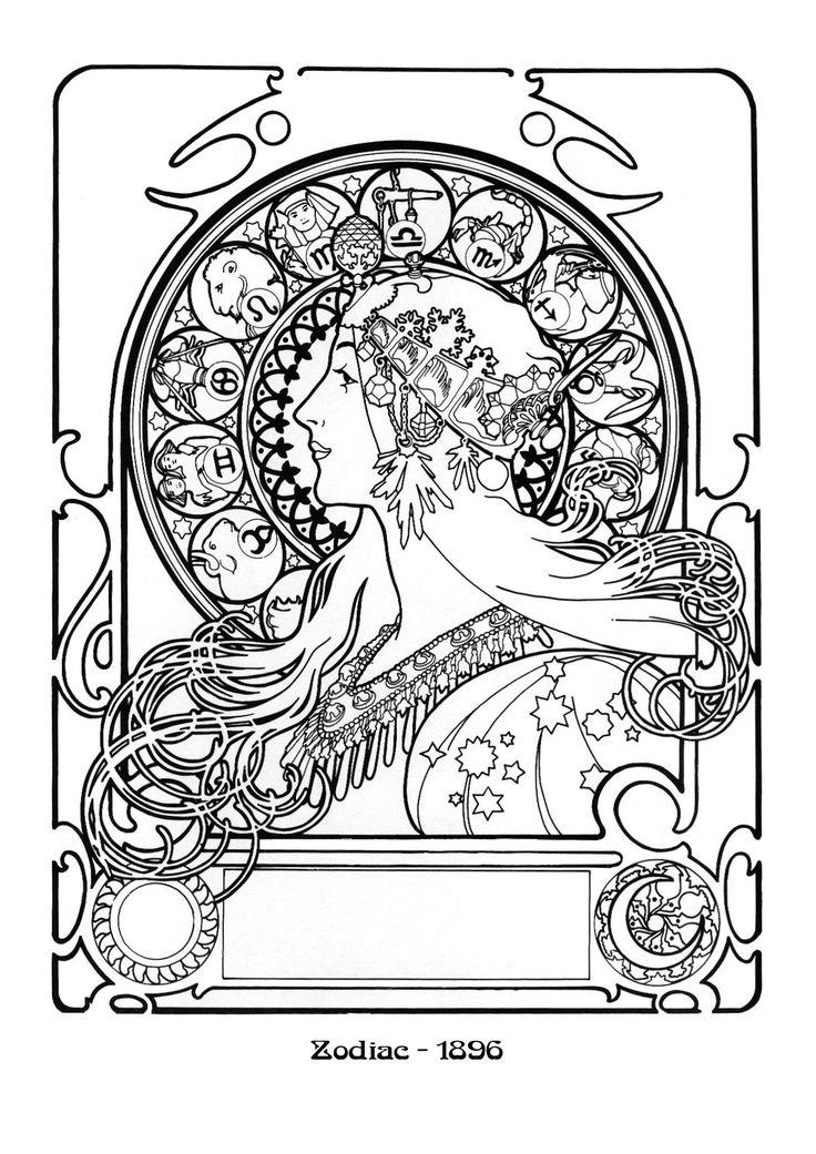 Kleurplaat naar Alfons Mucha *Colouring Picture A.Mucha-like ~Zodiac 1896~