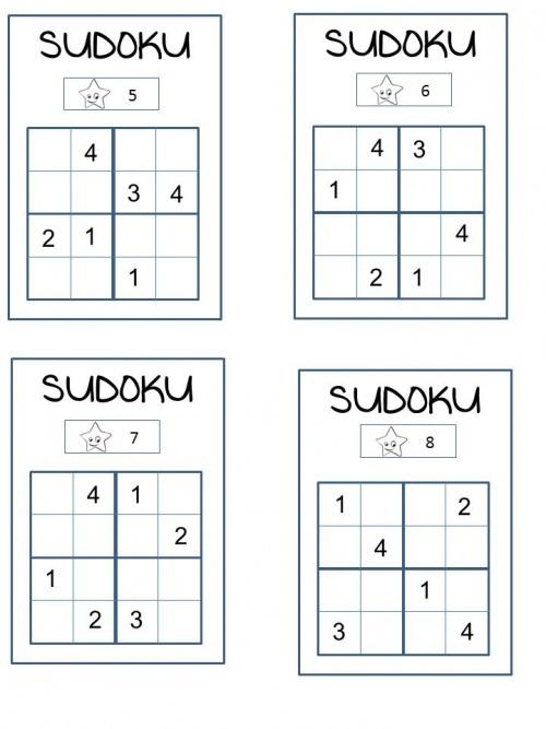 Sudoku : A refaire selon niveaux avec Sudoku images mais travail en groupe où tous doivent réussir en ayant compris!