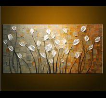 çerçevesiz handpainted kaliteli asmak resimleri modern soyut duvar sanatı tuval yağlıboya beyaz çiçek oda dekor(China (Mainland))