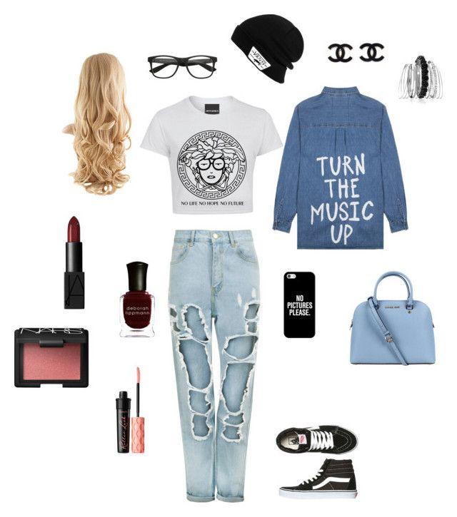 """Denim back to school outfit"" by adrianaadd on Polyvore featuring moda, WearAll, Jac Vanek, Vans, Casetify, Michael Kors, Avenue, NARS Cosmetics, Deborah Lippmann e Benefit"