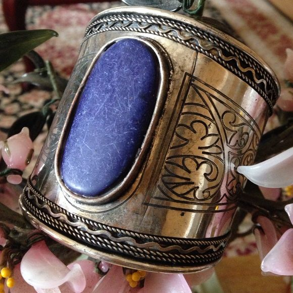 Vintage lapis cuff Amazing detail all over 800 silver Vintage Jewelry Bracelets