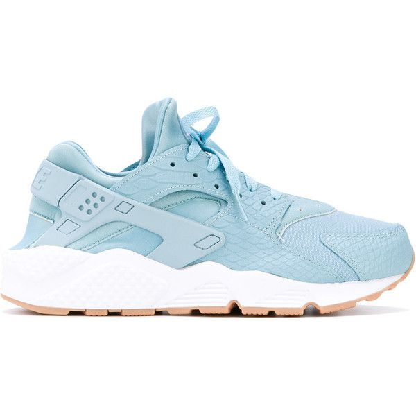 Nike Air Huarache Run SE sneakers ($180) ❤ liked on Polyvore featuring shoes, sneakers, blue, leather slip on sneakers, blue sneakers, slip on sneakers, lace up shoes and blue leather shoes