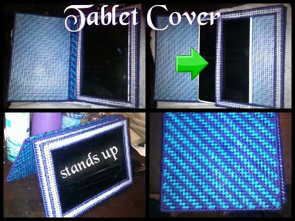 Tablet Cover - plastic canvas...able to use tablet while it's inside...can also stand it up...Cover $15 pattern $5.