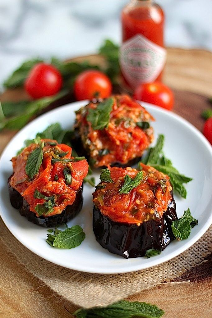 Roasted Eggplant With Tomatoes And Mint Recipe — Dishmaps
