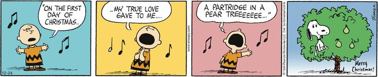 Charlie Brown singing a Christmas song