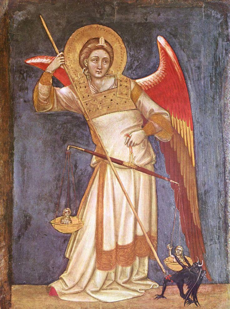Гварьенто д'Арпо. Картины из капеллы в палаццо Каррара в Падуе. Архангел Михаил взвешивает душу.