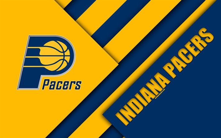 Download wallpapers Indiana Pacers, NBA, 4k, logo, material design, American basketball club, blue yellow abstraction, Indiana, USA, basketball