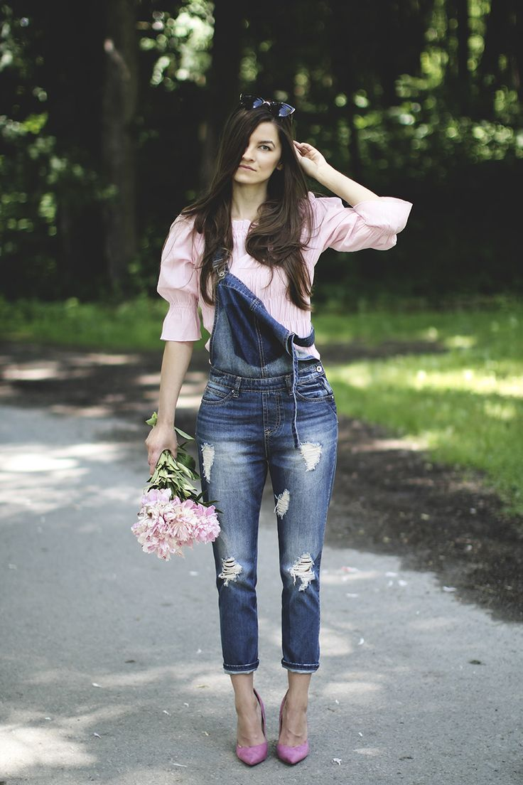 overalls pink heels fall outfit