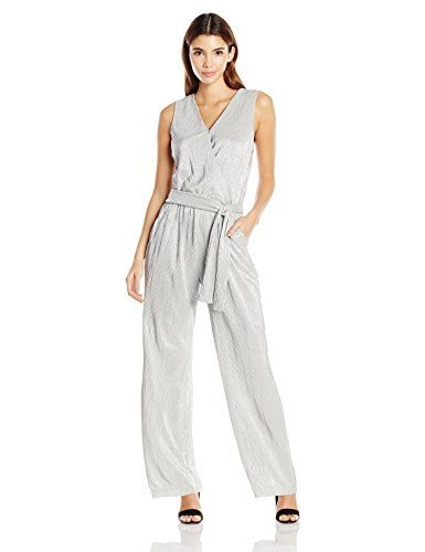 NY Collection Women's Boudre Shimmer Sleeveless Surplice Jumpsuit - http://www.darrenblogs.com/2016/12/ny-collection-womens-boudre-shimmer-sleeveless-surplice-jumpsuit/