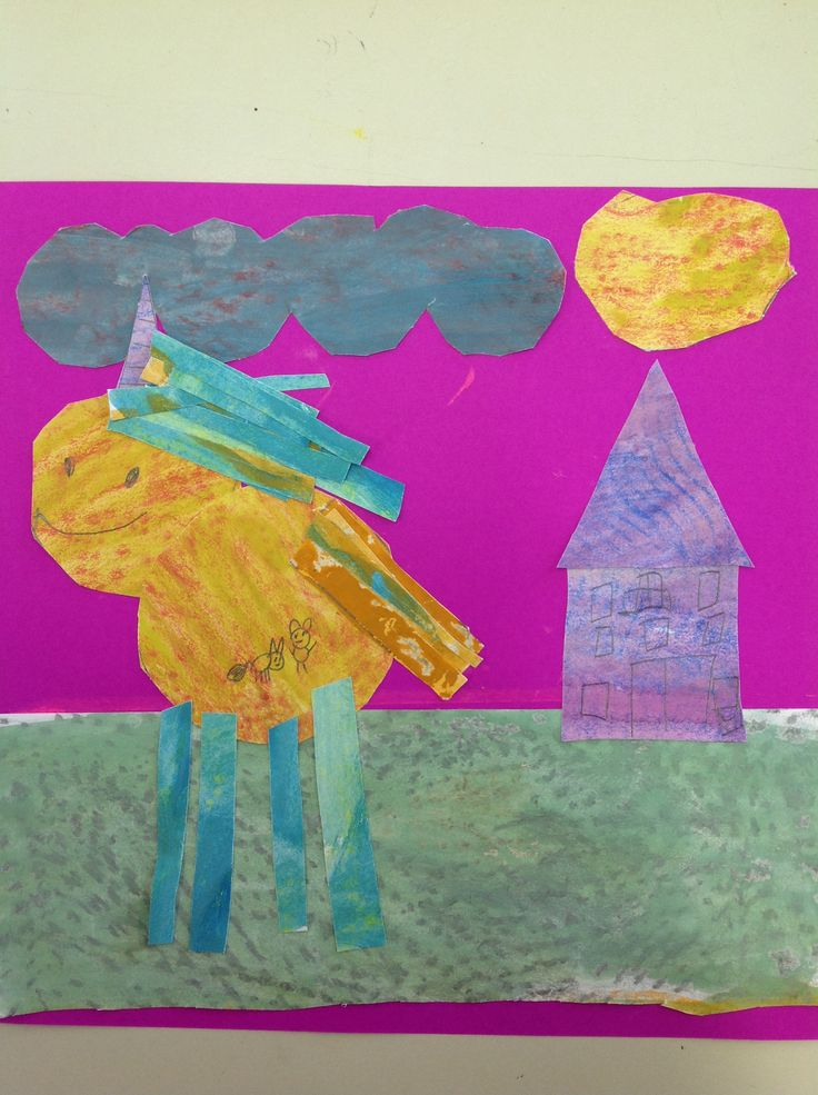 Yr 2 art paper collages, Eric Carle style