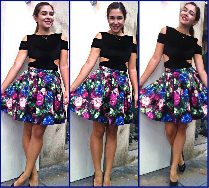 Floral Skirt & Velvet Bodusuit www.patriciastore.com/bottoms