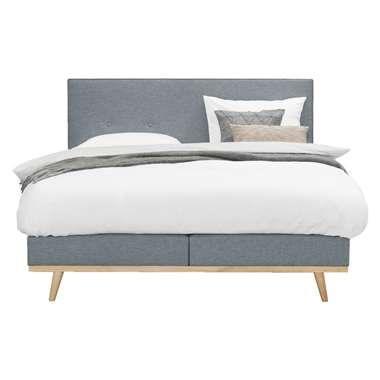 Lit sommier tapissier Helsinki - 160x200 - gris bleu