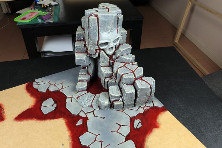 skull mountain rock terrain blood