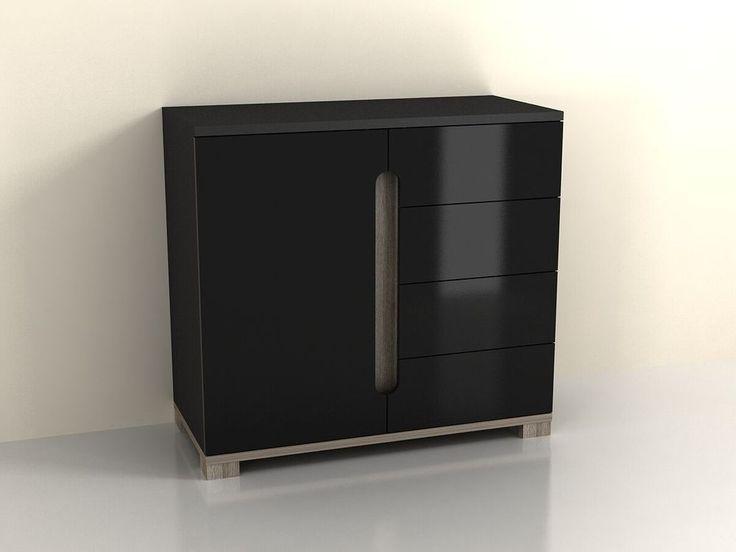 High Gloss Black Cupboard Shelves Sideboard Drawer Narrow Cabinet Unit Small  #JAFFO #Modern