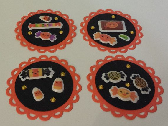 Handmade Lacy Circle Round Paper Embellishments - Set of 4 Mixed Halloween Treats Candies Chocolates Kawaii & Cute