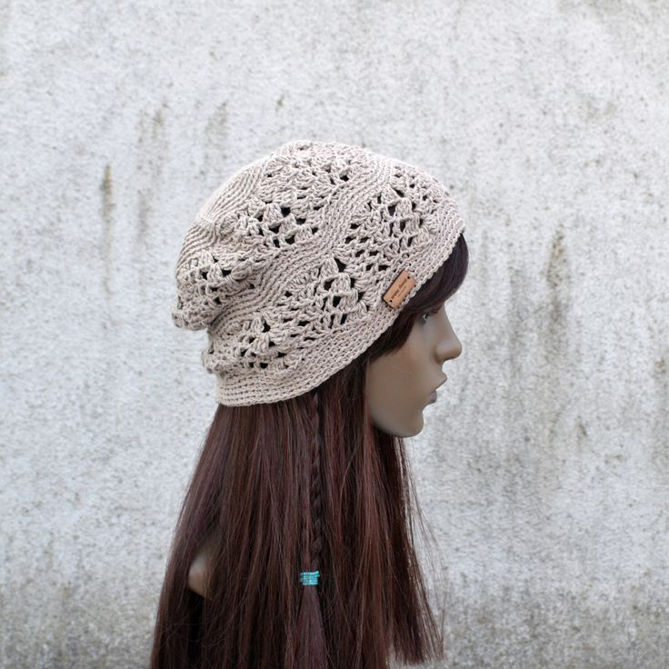 Lacy Crochet Hat in Light Brown, Cool Hat, Hippie Hat, Boho Brown Hat, Bohemian Hat, Slouchy Light Hat by acrazysheep on Etsy https://www.etsy.com/ie/listing/453714922/lacy-crochet-hat-in-light-brown-cool-hat