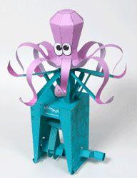 Animated paper octopus iwth double crank mechanism