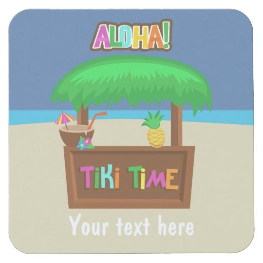 Kids Hawaiian Luau Party Personalized Square Paper Coaster