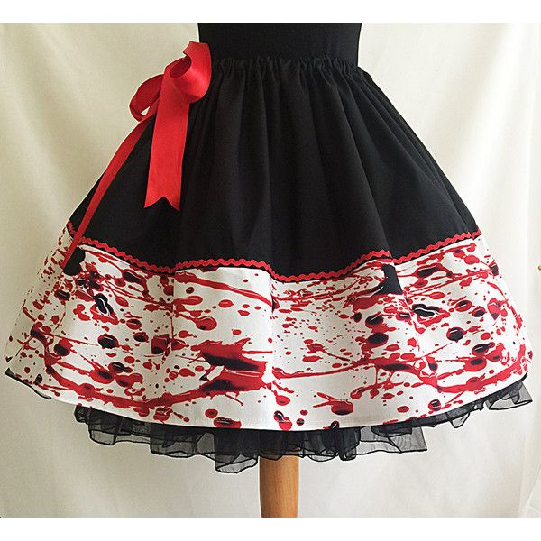 blood splatter skirt blood skirt halloween skirt rooby lane 52 liked on polyvore - Halloween Petticoat