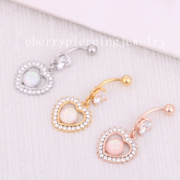 Body Piercings – New fashion fake opal belly navel ring#14 (Silver) – a unique product by cherrypiercingjewelry on DaWanda