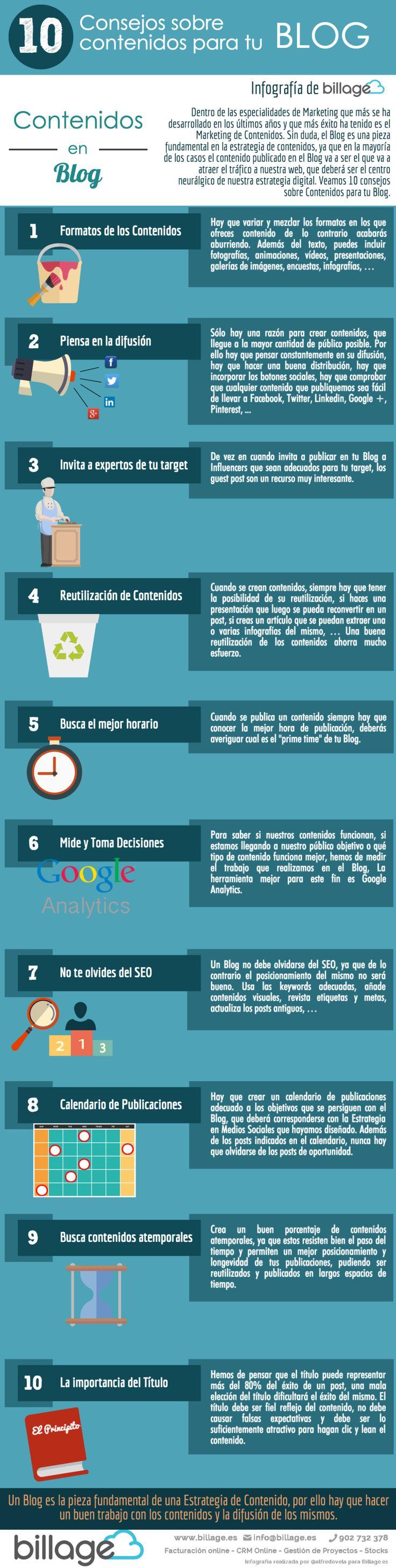 10 consejos sobre contenidos para tu Blog #infografia #infogaphic #socialmedia
