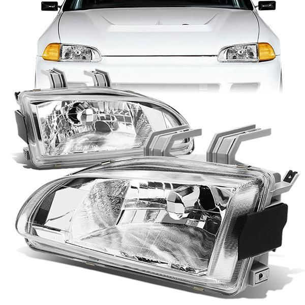 92 95 Honda Civic Eg Eh Ej Headlights Chrome Housing 2 Pieces Honda Civic Headlights Honda Civic Headlights
