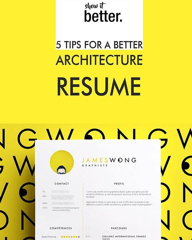 Find Out Which Are The Tips To Design Your Architecture Resume Cv Link In Our Bio Now Showitbetter Architecture Resume Resume Portfolio Resume