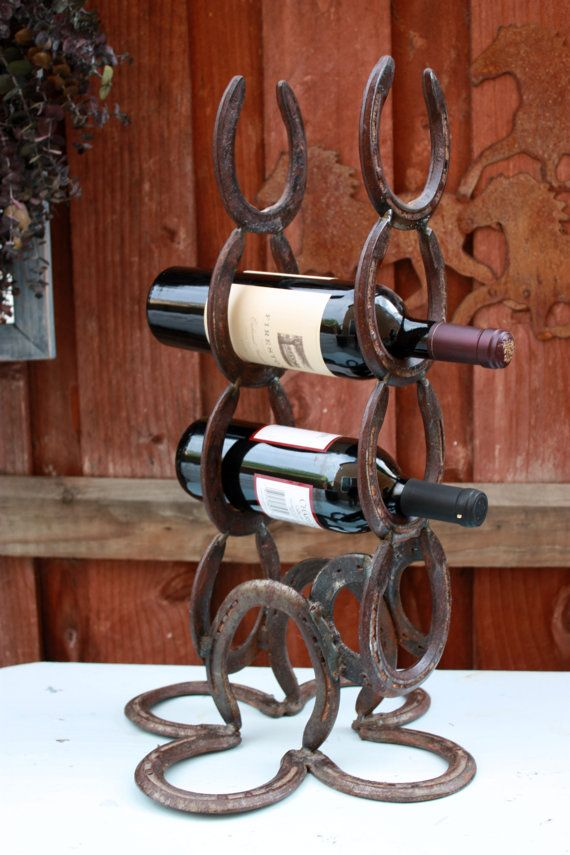 Rustic Horseshoe Wine Rack 4 Bottles Wine Rack Copper by Chapter65