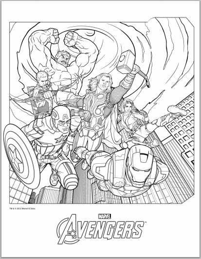 Avengers Coloring Pages - in case anyone felt like enjoying the meditative, relaxing affects of coloring.