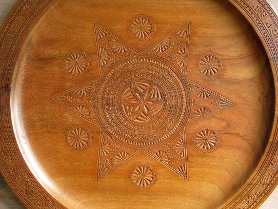Scandinavian Folk Art Plate, Hand Carved Treen, Tray, Charger