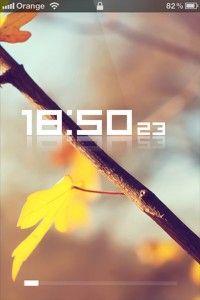 Yellow Leafs & Clock iPhone Theme