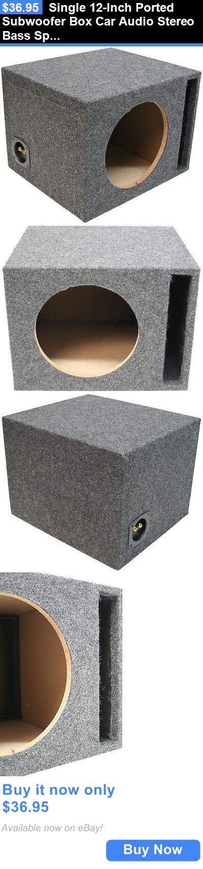 Car Subwoofers: Single 12-Inch Ported Subwoofer Box Car Audio Stereo Bass Speaker Sub Enclosure BUY IT NOW ONLY: $36.95