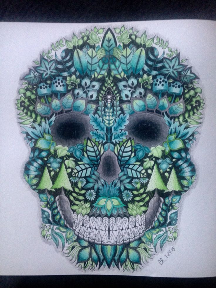 Johanna Basford Enchanted Forest Skull Coloring BookPrismacolor