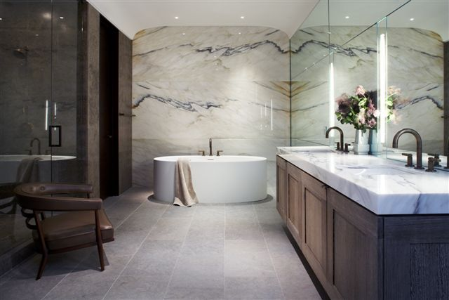 Bathroom by Laura Kirar - minus the copper color in the marble