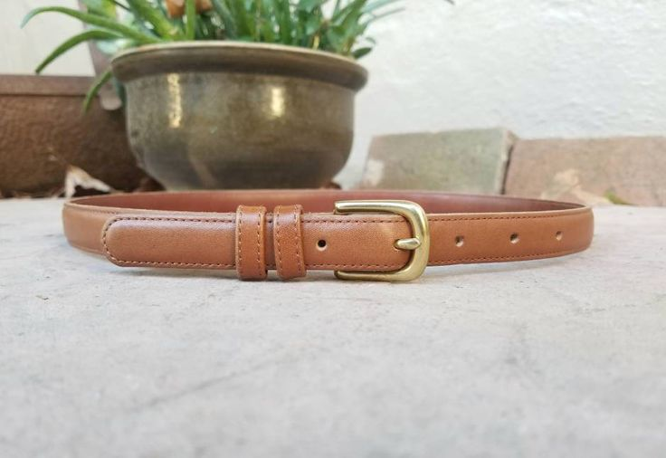 Vintage Women's Medium COACH Belt Thin British Tan Leather Glive Tanned Cowhide Brass Buckle Designer High Fashion Preppy Hipster Style by Ramenzombie on Etsy