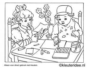 kleurplaat waterverven, kleuteridee ,Preschool watercolor coloring.