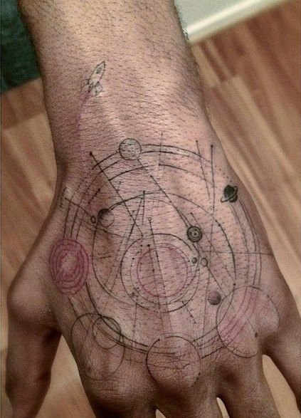 Kid Cudi's solar system tattoo