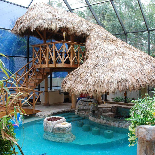 Fancy tiki house & pool