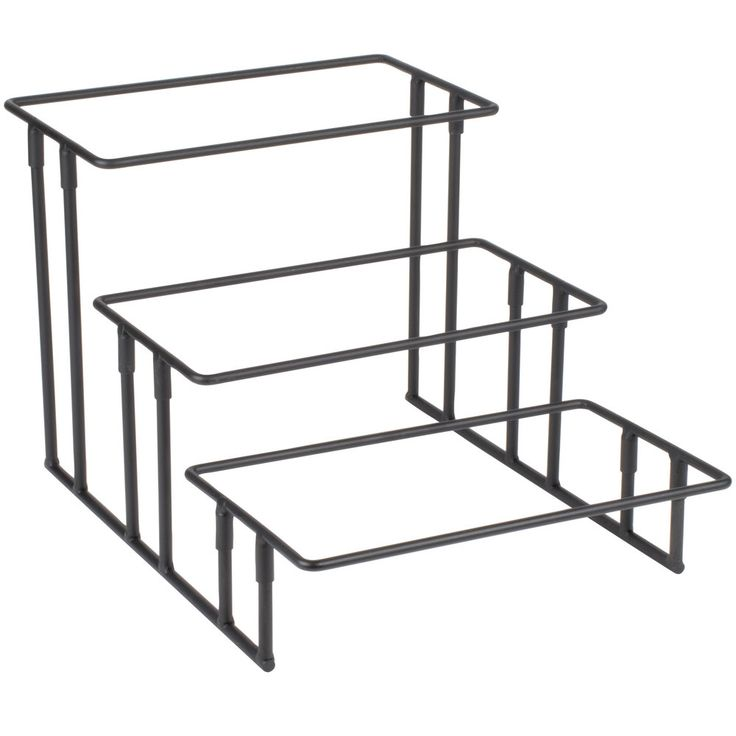 """With a simple stair-step design, this American Metalcraft IS18 three tier wrought iron rectangular display stand allows your food to look its best while remaining easily accessible. Plus, it disassembles for space-saving storage. <br><br><b><u>Overall Dimensions:</b></u> <br>Length: 20"""" <br>Width: 13 3/4"""" <br>Height: 12"""""""