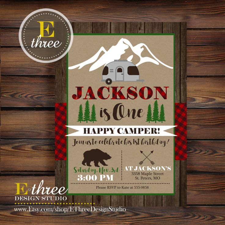 Camping Birthday Party Invitation - Plaid Camper Party Invitation - Rustic Boy's Birthday Invite - One Happy Camper Party by EThreeDesignStudio on Etsy https://www.etsy.com/listing/474161719/camping-birthday-party-invitation-plaid