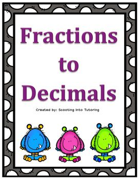 This fun fraction to decimal game will help students who need a little more practice to master the concept. These cards use tenths, hundredths, and thousandths.