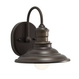 $34.97 Home Depot (add an edison bulb, and we're there!) - allen + roth Hainsbrook 8-in W 1-Light Bronze Arm Hardwired Wall Sconce