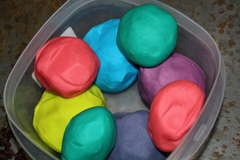 Playdough is a classic childhood toy everyone can have fun with, and it's so easy to make at home you'll never buy that stinky store variety again.    Basic ingredient ratios:  2 cups flour  2 cups warm water  1 cup salt  2 Tablespoons vegetable oil  1 Tablespoon cream of tartar (optional for improved elasticity)    food coloring (liquid, powder, or unsweetened drink mix)  scented oils