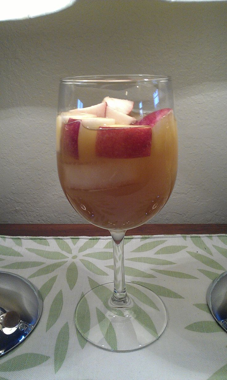 caramel apple sangria. Made this for an afternoon of baking and watching football. SO. Good! - KM