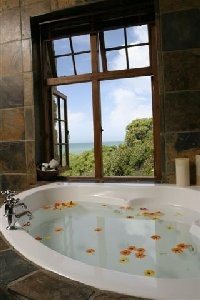 Bathroom with a view at Cape Agulhas Country Lodge
