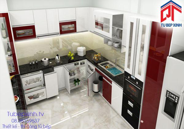 Tu bep - tủ bếp đẹp TB019G.  Sở hữu một tủ bếp hiện đại đầy công dụng được thiết kế phù hợp với nhu cầu sử dụng, và thẩm mỹ và thể hiện phong cách của chủ nhà.