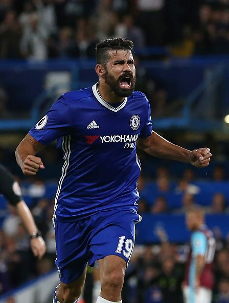 Chelsea's Brazilian born Spanish striker Diego Costa celebrates after scoring their second goal during the English Premier League football match...