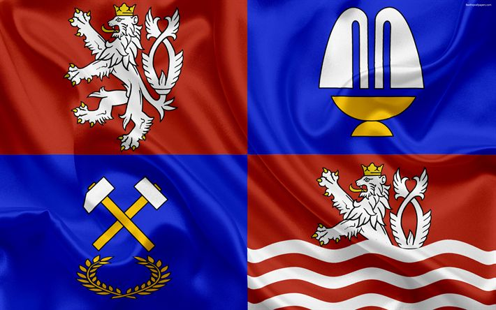 Download wallpapers Flag of Karlovy Vary Region, silk flag, 4k, official symbols, flags of administrative units, Czech Republic, Karlovy Vary Region